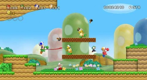 New Super Mario Brothers Wii features the ability to play with four friends at once