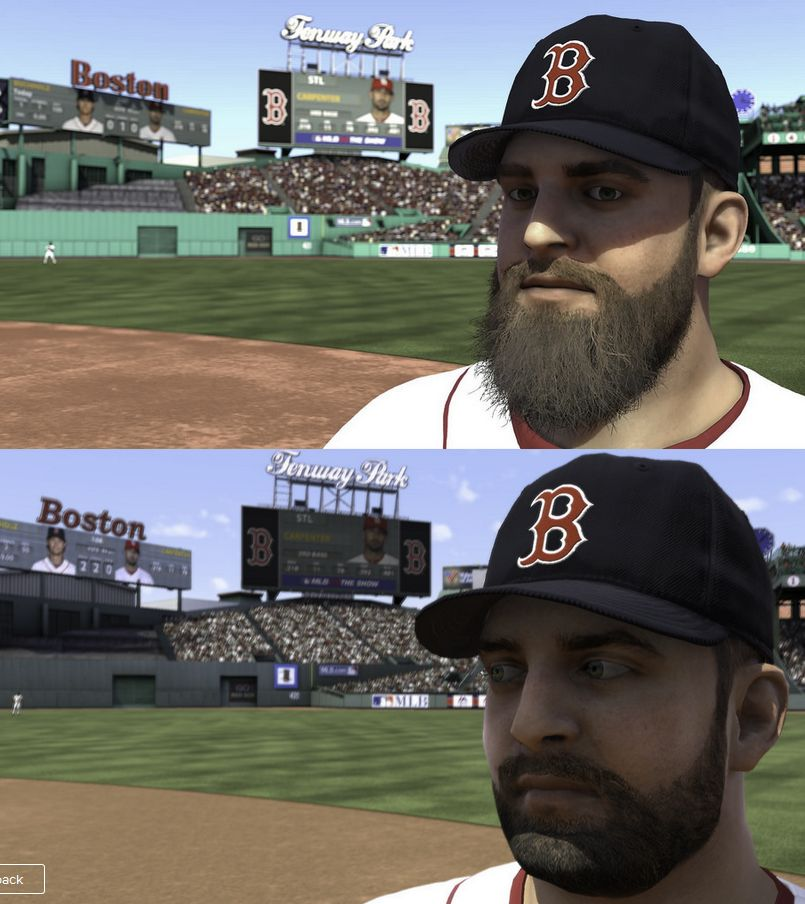 Nap from MLB 14: the Show with the PS3 on top and the PS4 on the bottom