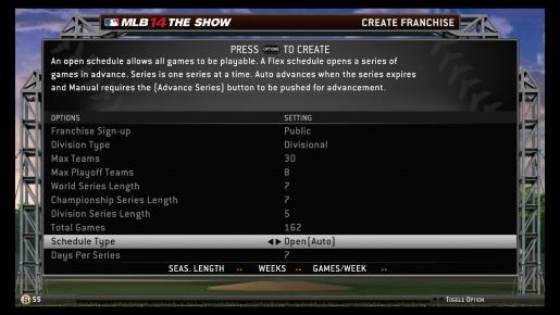 MLB 14 Create Franchise
